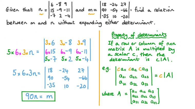 Using the Properties of Determinants to Find a Relation between the Determinants of Two 3 × 3 Matrices