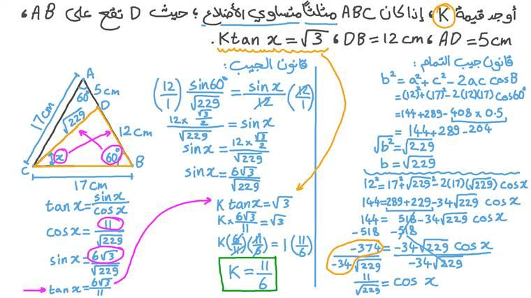 إيجاد العدد المجهول في نسبة الظل للزوايا في المثلثات المتساوية الأضلاع