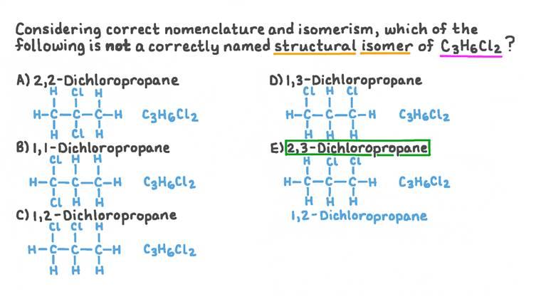 Identifier l'isomère de structure d'un halogénoalcane nommé de façon incorrecte