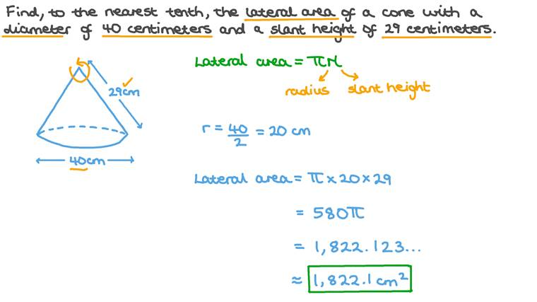 Finding the Lateral Surface Area of a Cone given Its Base Diameter and Its Slant Height
