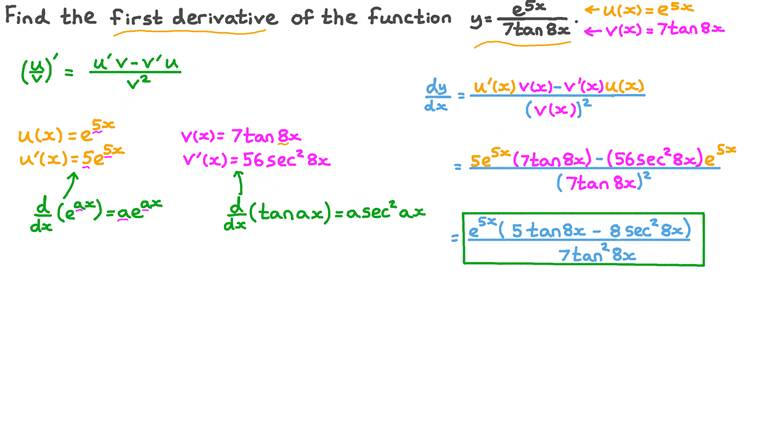 Differentiating the Quotient of Functions Involving Exponential and Trigonometric Functions