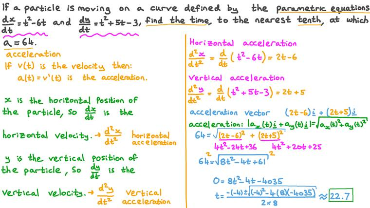 Finding the Time When a Moving Particle on a Curve Defined by a Pair of Parametric Equations Is Moving with a Certain Acceleration