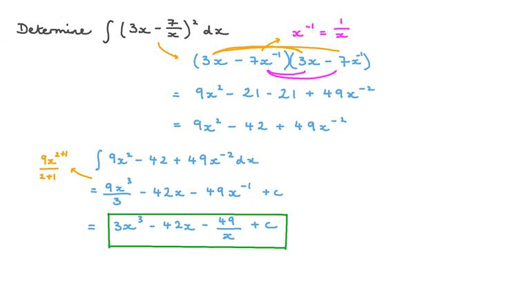 Finding the Integration of a Function Involving Expanding a Square and Using the Power Rule