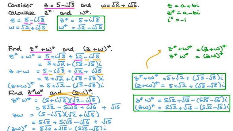 Complex Conjugates of Sums and Products
