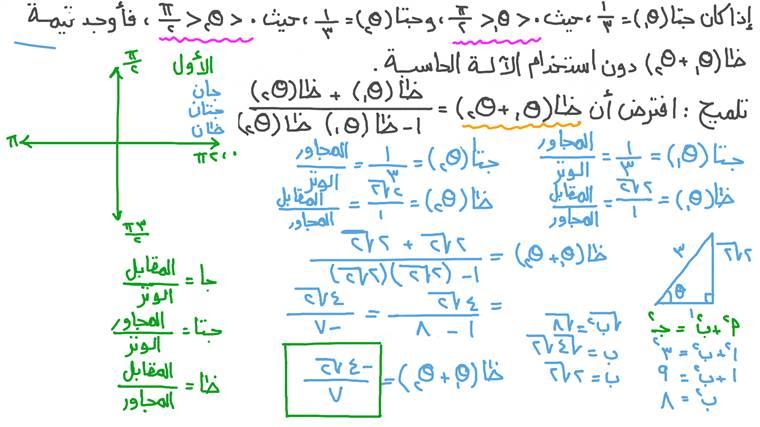 إيجاد قيمة دالة مثلثية باستخدام متطابقة مثلثية