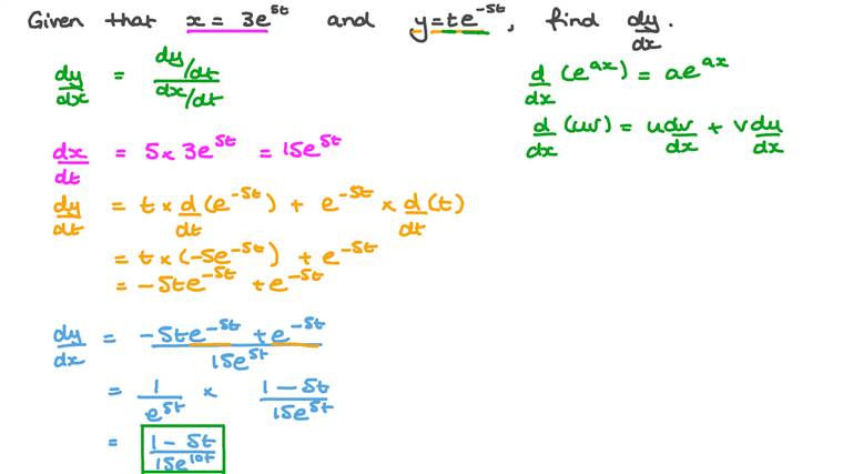 Finding the First Derivative of a Function Defined by Parametric Equations Involving Using the Product Rule