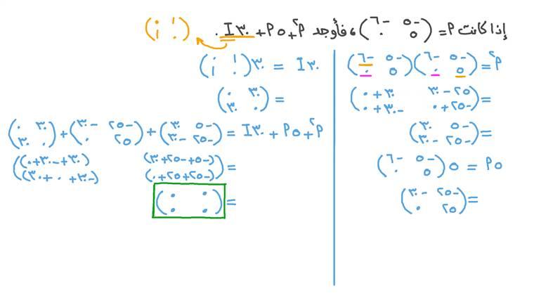 استخدام العمليات الحسابية على المصفوفات لإيجاد قيمة مقدار جبري معطى يتضمن مصفوفة الوحدة