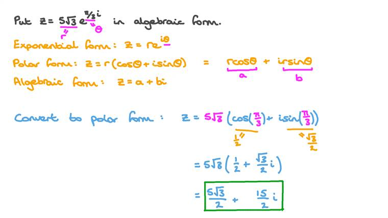 Converting Complex Numbers from Exponential to Algebraic Form