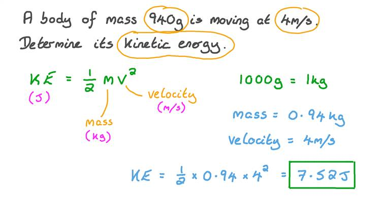 Finding the Kinetic Energy of a Moving Body