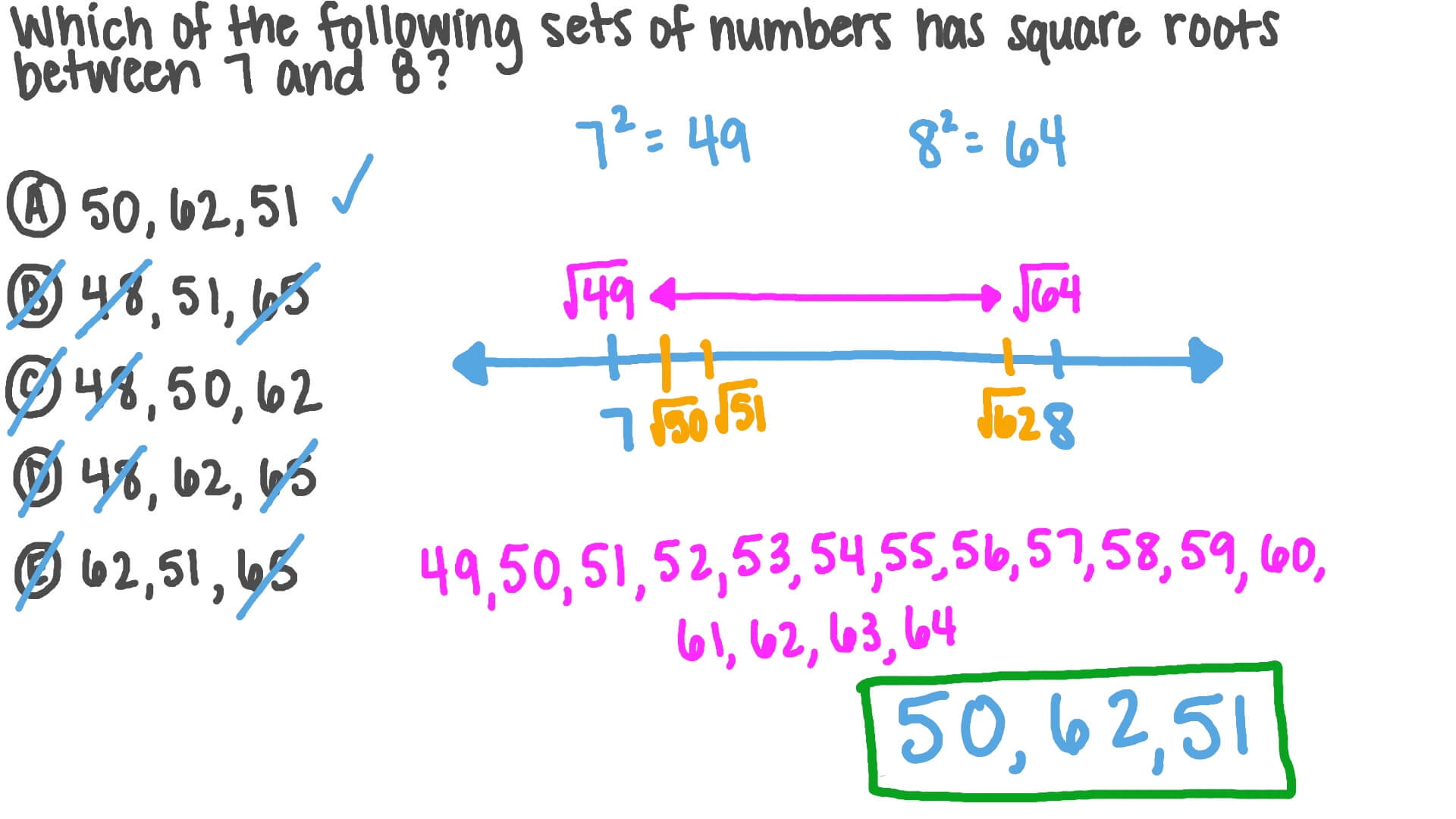 Video Identifying A Set Of Numbers Under A Given Condition Involving Exponents Nagwa