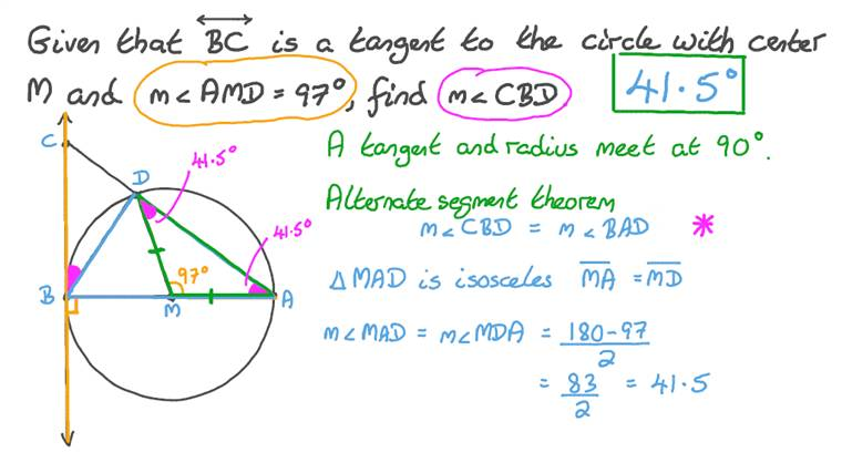 Finding the Measure of an Angle using the Relationship Between Tangents, Radii and Angles in a Semicircle