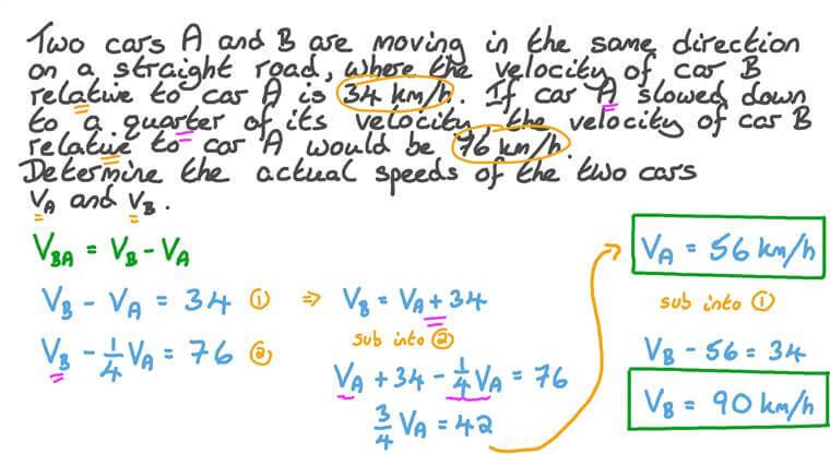 Détermination des vitesses de deux objets se déplaçant dans le même sens en utilisant leurs vitesses relatives dans deux cas différents