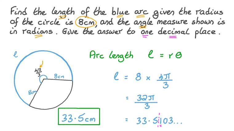 Finding the Length of an Arc Given the Circle's Radius and the Measure of the Central Angle