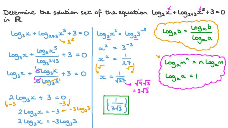 Finding the Solution Set of a Logarithmic Equation over the Set of Real Numbers