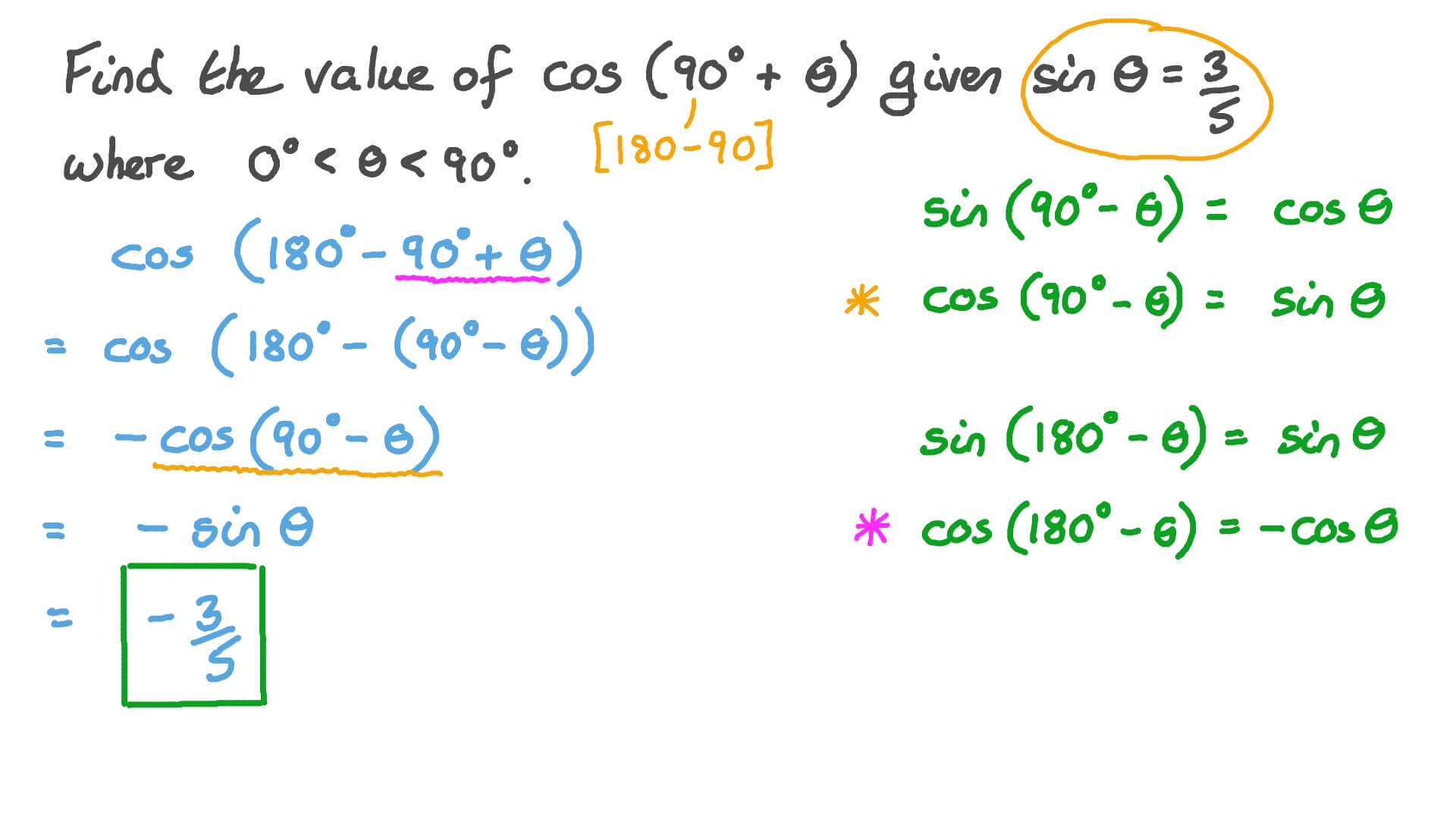 Question Video Finding The Value Of A Trigonometric Function Using Cofunction Identities