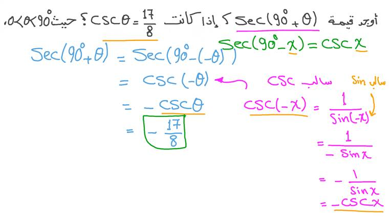 استخدام متطابقات فيثاغورس لإيجاد قيمة دالة مثلثية بمتطابقات الدوال المثلثية لزاويتين متتامتين بمعلومية الدالة المثلثية والربع الذي تقع فيه إحدى الزوايا