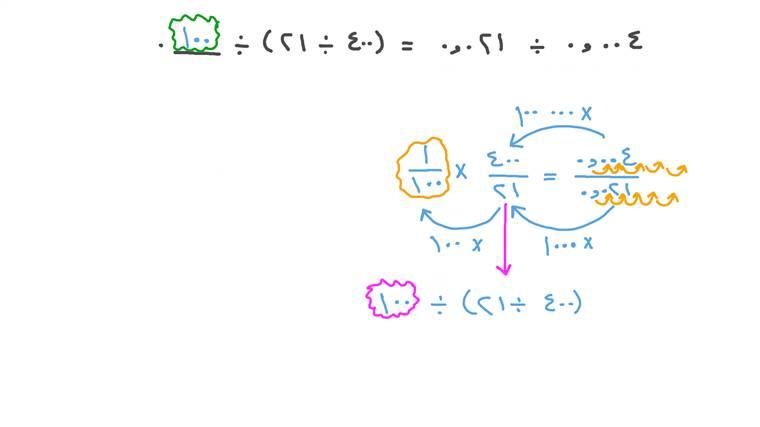 قسمة الأعداد الصحيحة على القوى الأسية لـ ١٠ في التعبيرات المتكافئة التي تتضمن أعدادًا عشرية