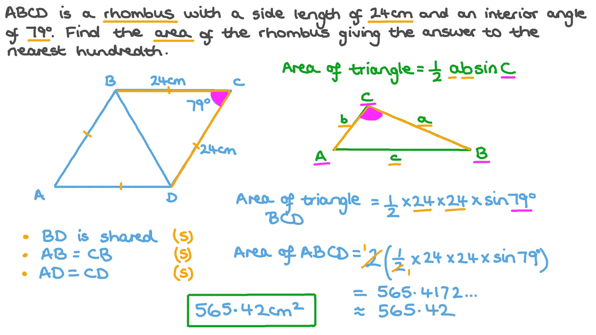 Using the Trigonometric Formula for the Area of Triangles to Calculate the  Area of a Rhombus Intended For Area Of Rhombus Worksheet