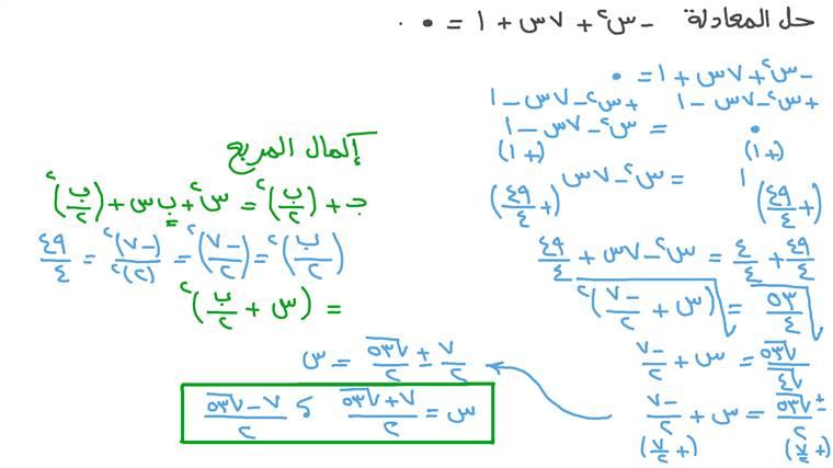 حل المعادلات التربيعية باستخدام القانون العام