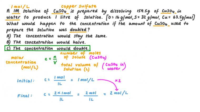 Déterminer l'effet de l'augmentation de la quantité de soluté et de solvant sur la concentration d'une solution