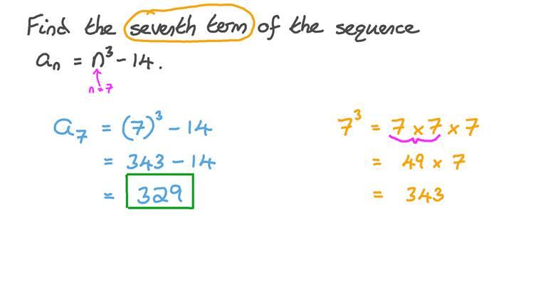 Déterminer la valeur d'un terme dans une suite étant donné le terme général de cette suite