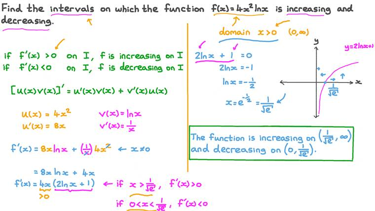 Finding the Intervals of Increasing and Decreasing of a Function Involving Using the Product Rule with Logarithmic Functions
