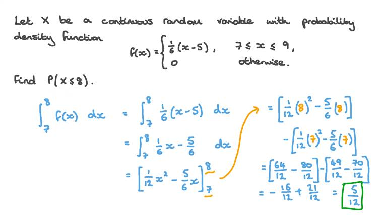 Using the Probability Density Function of a Continuous Random Variable to Find Probabilities
