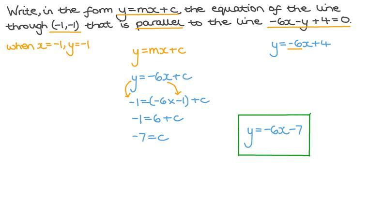 Déterminer l'équation d'une droite parallèle à une autre passant par un point donné