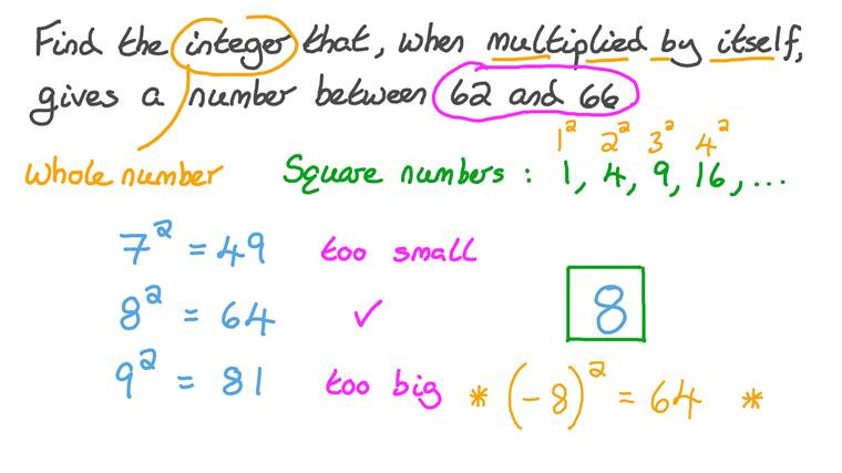 Using the Multiplication Table to Find a Number given a Range for Its Product by Itself