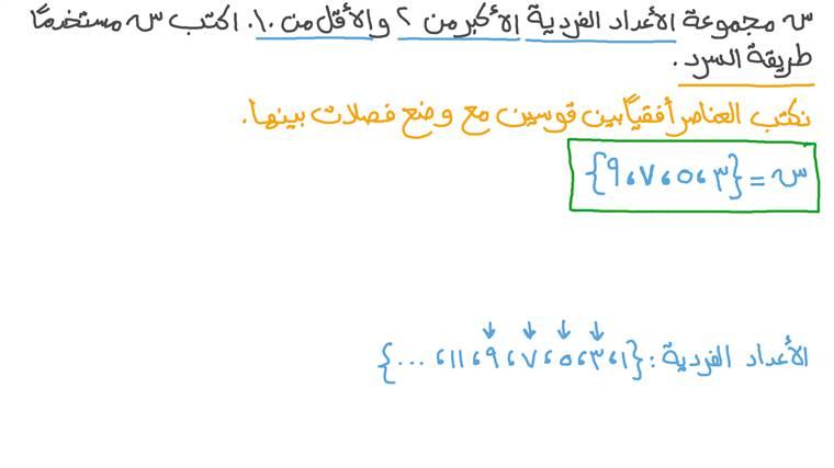 كتابة مجموعة معطاة في صورة وصفية باستخدام طريقة السرد