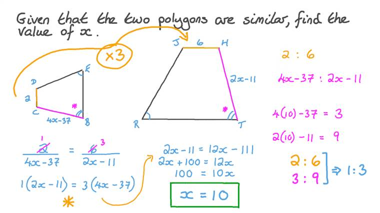 Finding the Length of a Side in a Polygon given the Corresponding Side in a Similar Polygon and the Similarity Ratio between Them