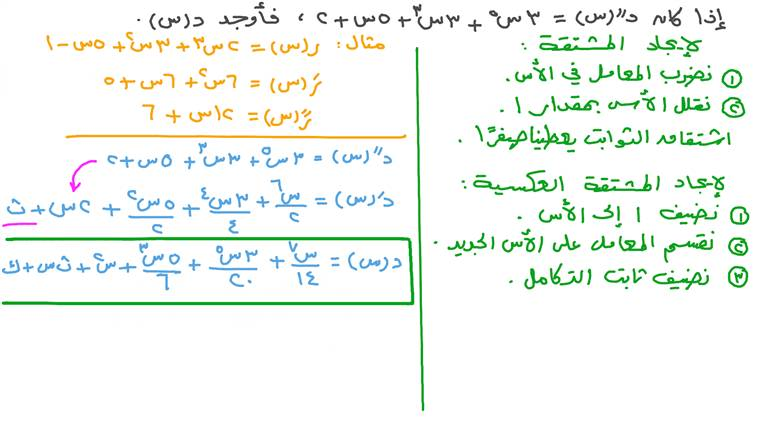 إيجاد تعبير دالة بمعلومية مشتقتها الثانية باستخدام التكامل