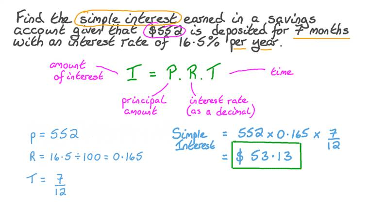Solving Word Problem by Finding Simple Interest Involving Percentages
