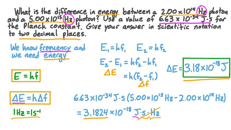 Calcul de la différence d'énergie entre les photons de différentes fréquences