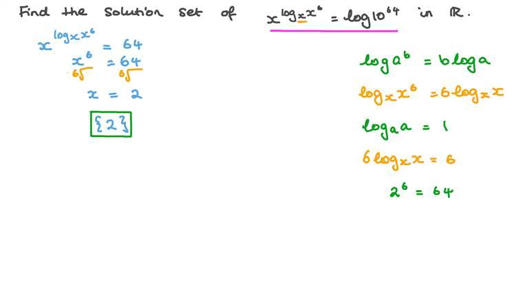 Déterminer l'ensemble de solutions d'équations exponentielles impliquant des logarithmes sur l'ensemble des nombres réels