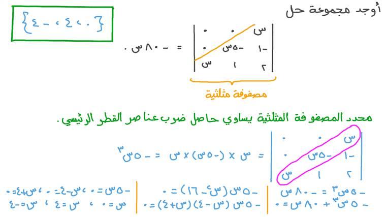 إيجاد مجهول بإيجاد قيمة محدد مصفوفة مثلثية