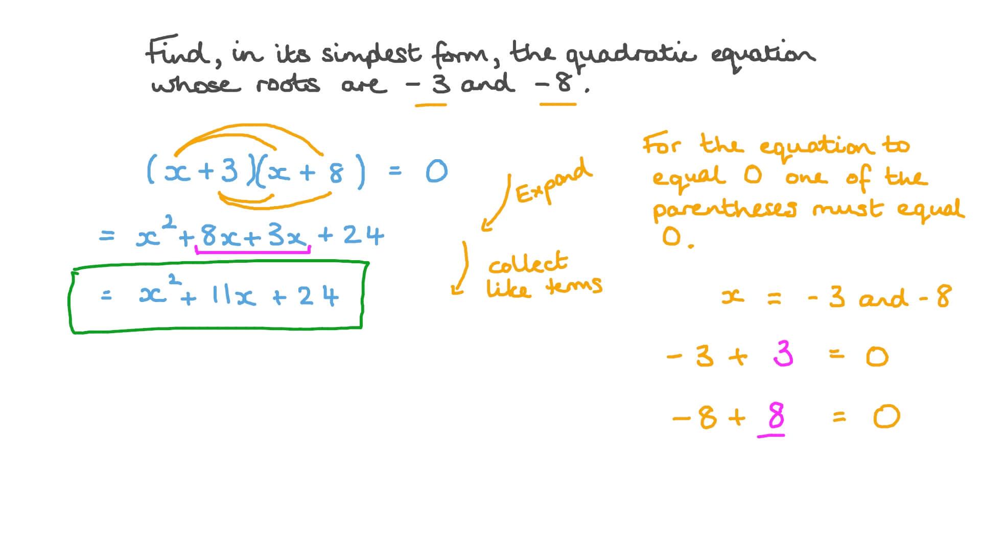 simplest form equation  Formando Equações Quadráticas na Forma mais Simples, Dadas suas Raízes