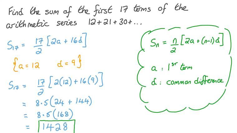 Déterminer la somme de certains termes d'une série arithmétique donnée
