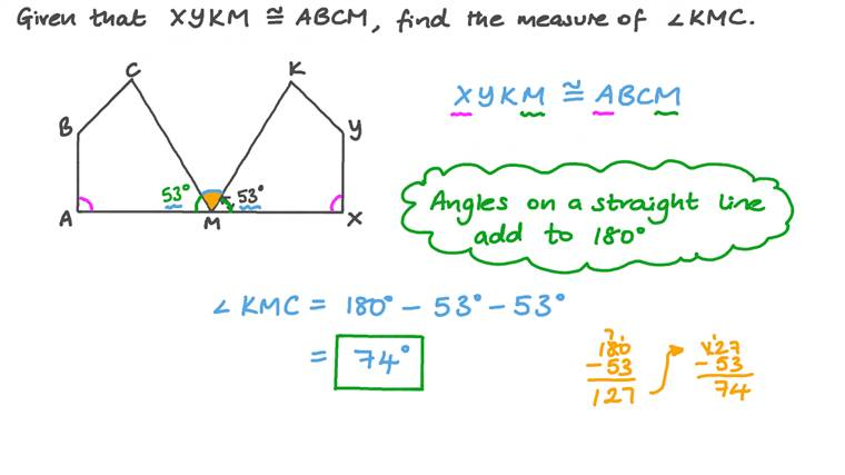 Finding the Measure of an Angle Bounded between Two Congruent Quadrilaterals