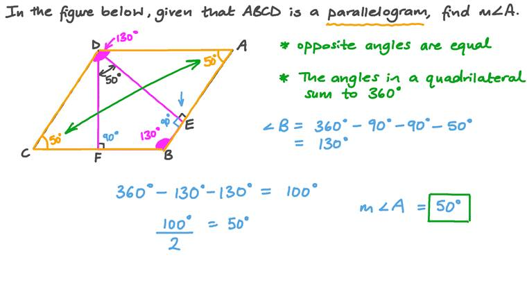 Finding the Measure of an Angle in a Parallelogram Using the Properties of Parallelograms