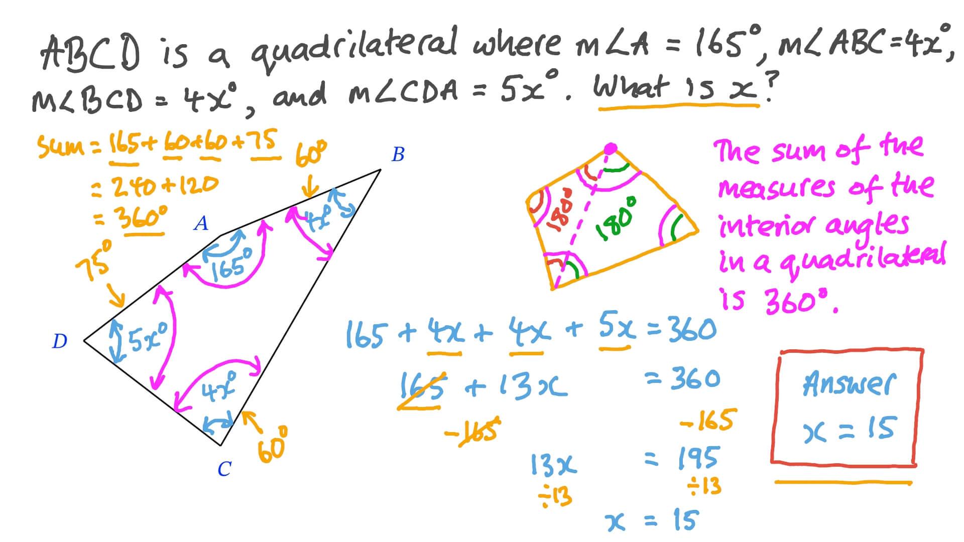 Vídeo De Cuestión Calcular ángulos Resolviendo Ecuaciones Sencillas Y Aplicando Propiedades De Los Cuadriláteros Nagwa