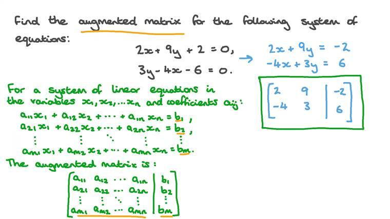Déterminer la matrice augmentée associée à un système d'équations