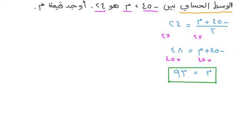 حل معادلات رياضية باستخدام الوسط الحسابي