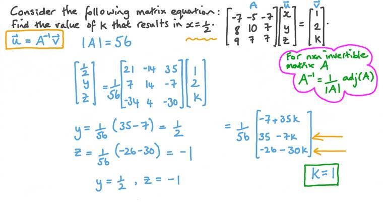 Finding an Unknown in a System of Three Equations Using a Matrix Inverse