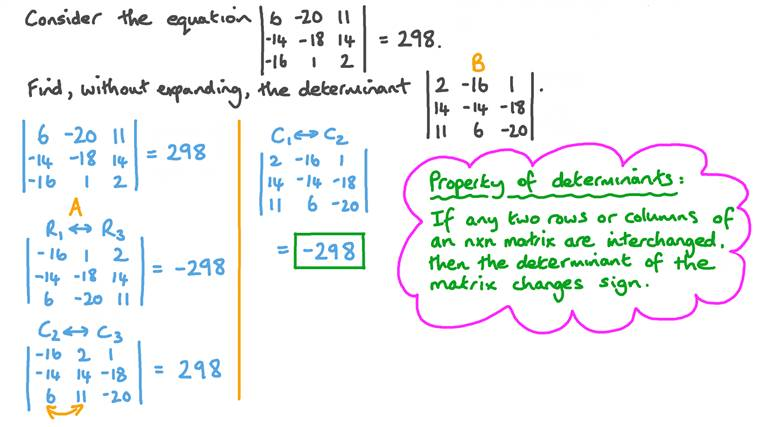 Using the Properties of Determinants to Find One Determinant from Another