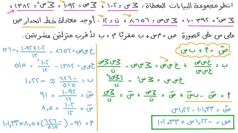 حساب نموذج الانحدار باستخدام المربعات الصغرى من ملخصات إحصائية