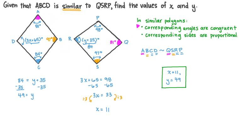 Finding the Measure of an Angle in a Quadrilateral Given the Similar Angle's Measure in a Similar Quadrilateral