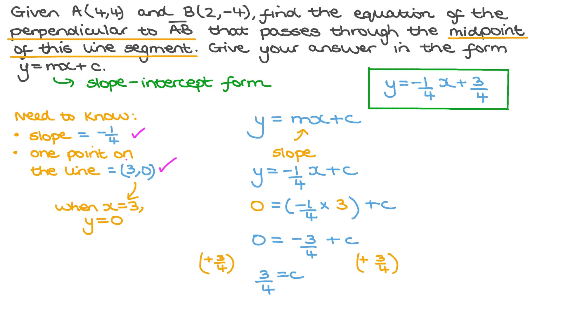 slope intercept form line passing through points calculator  Finding the Equation of a Perpendicular Line