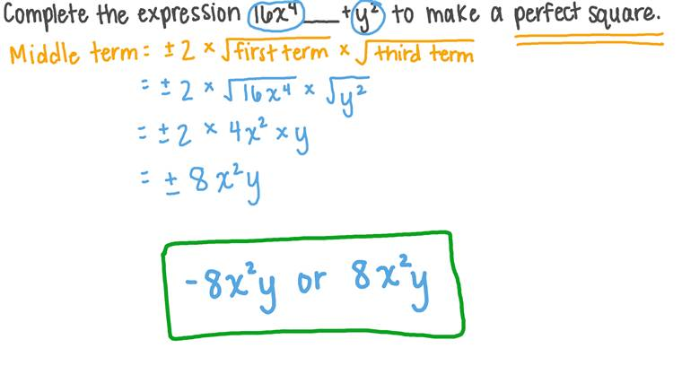 Completing Algebraic Expressions to Make a Perfect Square Trinomial