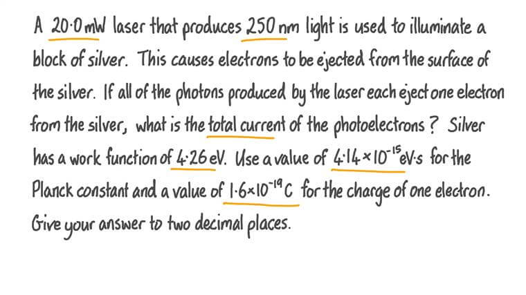 Finding the Current Produced by Photoelectrons